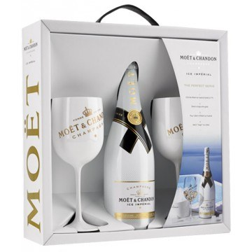 CHAMPAGNE  MOET  ET  CHANDON  -  ICE  IMPERIAL  -  COFANETTO  REGALO  2  FLUTE