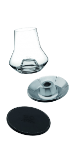 SET DEGUSTAZIONE WHISKY - BICCHIERE + BASE IN PELLE + REFRIGERATORE - PEUGEOT