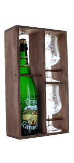 COFANETTO REGALO TRIPLE KARMELIET 1X75CL + 2 BICCHIERI - CASSA DI LEGNO - BIRRIFICIO BOSTEELS